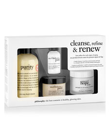 cleanse, refine & renew kit purity made simple one-step facial cleanser, the microdelivery peel at-home vitamin c/peptide peel and renewed hope in a jar refreshing & refining moisturizer