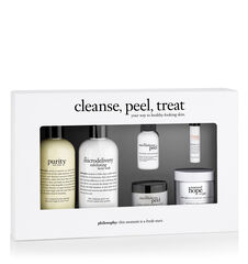 cleanse, peel, treat kit purity made simple one-step facial cleanser, miracle worker miraculous anti-aging moisturizer and the microdelivery peel at-home vitamin c/peptide peel